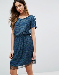 Vero Moda Short Sleeve Printed Skater Dress With Lace Hem Ester Print North Multi
