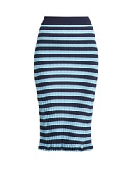 Altuzarra Bloomfield Striped Ribbed Knit Skirt Blue Multi