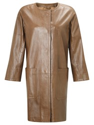 Weekend Maxmara Taverna Leather Coat Brown