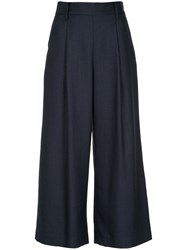 Loveless Cropped Flared Trousers Blue
