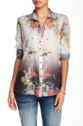 3J Workshop Print Silk Blend Button Back Blouse Multi