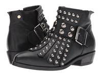 Manila Grace Studded Fringe Ankle Boots Black Women's Pull On Boots