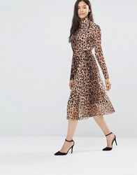 Soaked In Luxury Mesh Leopard Midi Skirt Leo Mesh Print Multi