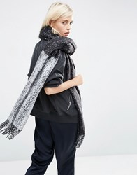 Asos Oversized Long Woven Scarf In Colour Block Boucle Multi