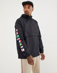 Huf Regional Overhead Jacket With Tour Print In Black