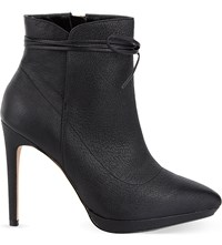 Reiss Orion Leather Heeled Ankle Boots Black