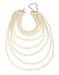 Carolee Faux Pearl Nine Row Statement Necklace Silver