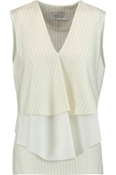 Derek Lam 10 Crosby By Tiered Pinstriped Wool Blend And Cotton Poplin Top Cream
