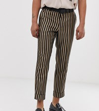 Heart And Dagger Slim Fit Smart Trouser In Stone Stripe