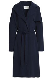 Cedric Charlier Crepe Trench Coat Midnight Blue