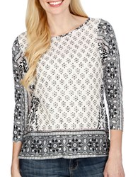 Lucky Brand Printed Boatneck Top Black Multi