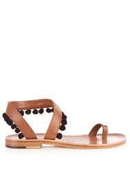 Alvaro Angela Pompom Embellished Leather Sandals Black Tan