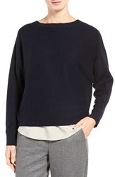 Nordstrom Women's Collection Cross Back Cashmere Sweater Navy Black Marl