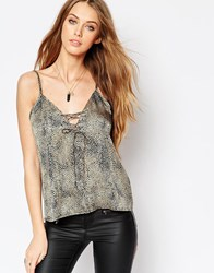 Wyldr Dont Cross Me Cami Top With Lace Up Detail In Leopard Print Multi