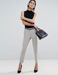 Asos Cigarette Trousers With Belt Silver Grey
