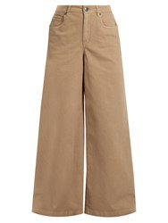 Brunello Cucinelli High Rise Wide Leg Stretch Cotton Trousers Khaki