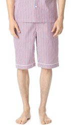 Sleepy Jones Scully Thin Multistripe Pajama Shorts White Red Navy