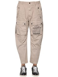 Dsquared 20Cm Cotton Cargo Pants Khaki