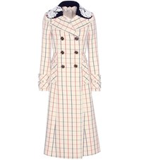 Miu Miu Check Wool Coat Neutrals