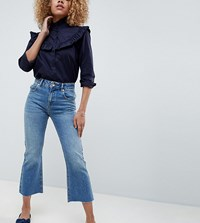 Asos Design Petite Authentic Rigid Cropped Flare Jeans In Vintage Mid Wash Vintage Mid Wash Blue