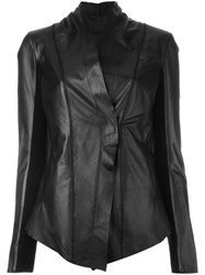 10Sei0otto Fitted Leather Jacket Black