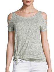 Generation Love Kendall Cold Shoulder Knot Linen Tee Grey White