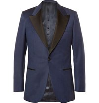 Kingsman Blue Slim Fit Faille Trimmed Checked Wool Tuxedo Jacket Navy