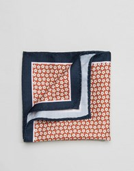 Selected Homme Pocket Square In Floral Dark Navy