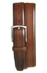 Men's Big And Tall Allen Edmonds 'Manistee' Brogue Leather Belt Brown