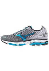 Mizuno Wave Rider 19 Cushioned Running Shoes Quiet Shade Atomic Blue Black Grey