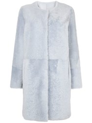 Yves Salomon Collarless Coat Blue