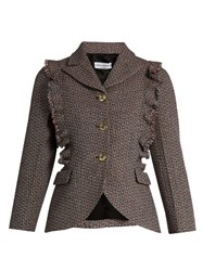 Sonia Rykiel Single Breasted Ruffle Trimmed Wool Tweed Jacket