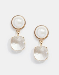 Coast Faux Pearl And Sparkle Earrings Gold