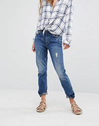 Lovers Friends Logan High Rise Slim Jeans With Released Hem Grove Blue
