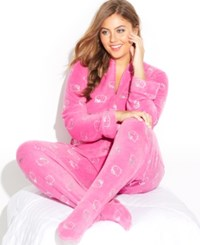 Hello Kitty Plus Size Sparkle Type Footed Pajamas Pink