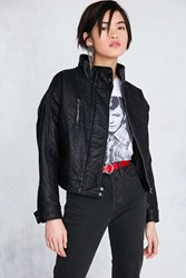 Silence And Noise Etienne Pebbled Vegan Leather Jacket Black
