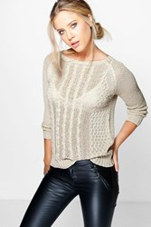Boohoo Cable Knit Loose Stitch Jumper Stone