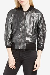 R 13 R13 Women S Reversible Metallic Bomber Jacket Boutique1 Silver