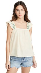 Madewell Embroidered Strap Flutter Sleeve Top Pearl Ivory