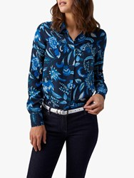Pure Collection Relaxed Silk Blouse Opulence Navy Floral