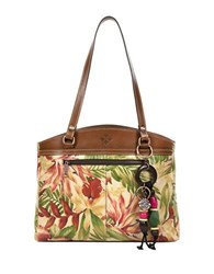 Patricia Nash Denim And Daisies Poopy Leather Tote Bag Cuban Tropical