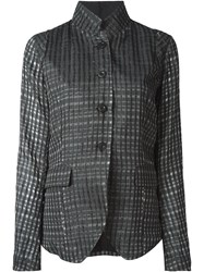 Lost And Found High Collar Check Blazer Grey