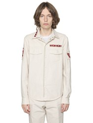 Valentino Military Patches Cotton Canvas Shirt