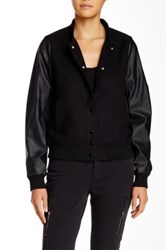 Abs By Allen Schwartz Faux Leather Sleeve Varsity Jacket Black