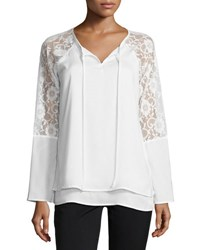 Neiman Marcus Lace Bell Sleeve Top Ivory