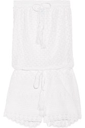 Melissa Odabash Everley Embroidered Georgette Playsuit White
