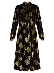 Adam By Adam Lippes Fil Coupe And Flocked Velvet Georgette Dress Black Gold