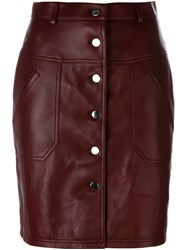 Carven Buttoned Short Skirt Red
