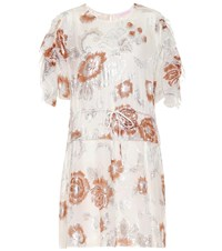 See By Chloe Metallic Floral Minidress White