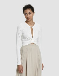 Which We Want Ava Knotted Crop Top In White